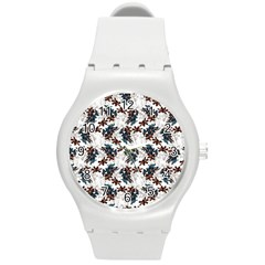 Pear Blossom Teal Orange Brown  Round Plastic Sport Watch (m) by ssmccurdydesigns