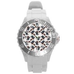 Pear Blossom Teal Orange Brown  Round Plastic Sport Watch (l) by ssmccurdydesigns