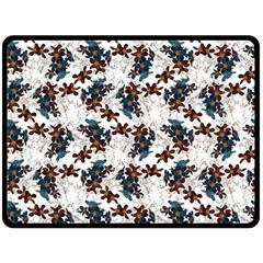 Pear Blossom Teal Orange Brown  Double Sided Fleece Blanket (large)  by ssmccurdydesigns
