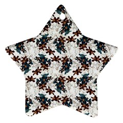 Pear Blossom Teal Orange Brown  Star Ornament (two Sides) by ssmccurdydesigns