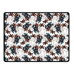 Pear Blossom Teal Orange Brown  Double Sided Fleece Blanket (small)  by ssmccurdydesigns