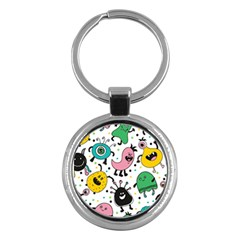 Cute And Fun Monsters Pattern Key Chains (round)  by allthingseveryday
