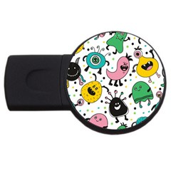 Cute And Fun Monsters Pattern Usb Flash Drive Round (4 Gb) by allthingseveryday