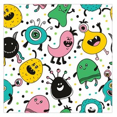 Cute And Fun Monsters Pattern Large Satin Scarf (square) by allthingseveryday