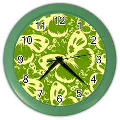 Pale Green Butterflies Pattern Color Wall Clocks by allthingseveryday
