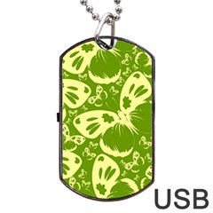 Pale Green Butterflies Pattern Dog Tag Usb Flash (two Sides) by allthingseveryday