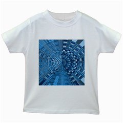 Gateway Pattern Blue 3 Kids White T Shirt by Cveti