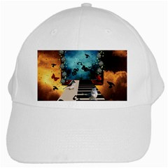 Music, Piano With Birds And Butterflies White Cap by FantasyWorld7