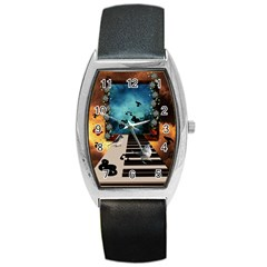 Music, Piano With Birds And Butterflies Barrel Style Metal Watch by FantasyWorld7