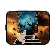 Music, Piano With Birds And Butterflies Netbook Case (small)  by FantasyWorld7