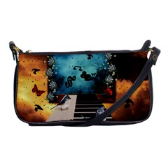 Music, Piano With Birds And Butterflies Shoulder Clutch Bags by FantasyWorld7