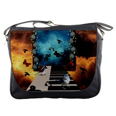 Music, Piano With Birds And Butterflies Messenger Bags by FantasyWorld7
