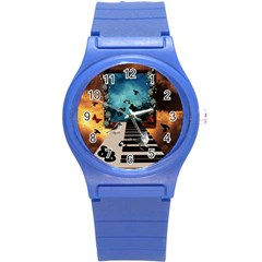 Music, Piano With Birds And Butterflies Round Plastic Sport Watch (s) by FantasyWorld7