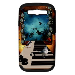 Music, Piano With Birds And Butterflies Samsung Galaxy S Iii Hardshell Case (pc+silicone) by FantasyWorld7
