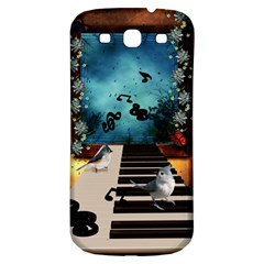Music, Piano With Birds And Butterflies Samsung Galaxy S3 S Iii Classic Hardshell Back Case by FantasyWorld7