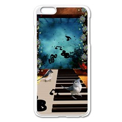 Music, Piano With Birds And Butterflies Apple Iphone 6 Plus/6s Plus Enamel White Case by FantasyWorld7