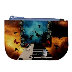 Music, Piano With Birds And Butterflies Large Coin Purse by FantasyWorld7