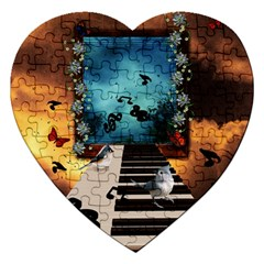 Music, Piano With Birds And Butterflies Jigsaw Puzzle (heart) by FantasyWorld7