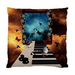 Music, Piano With Birds And Butterflies Standard Cushion Case (two Sides) by FantasyWorld7