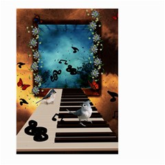Music, Piano With Birds And Butterflies Large Garden Flag (two Sides) by FantasyWorld7