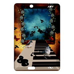 Music, Piano With Birds And Butterflies Amazon Kindle Fire Hd (2013) Hardshell Case by FantasyWorld7
