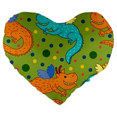 Colorful Dragons Pattern Large 19  Premium Heart Shape Cushions by allthingseveryday