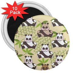Fun Panda Pattern 3  Magnets (10 Pack)  by allthingseveryday