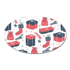 Christmas Gift Sketch Oval Magnet by patternstudio