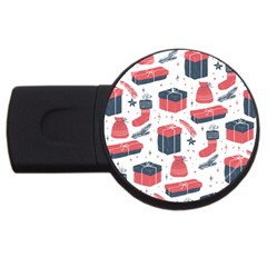 Christmas Gift Sketch Usb Flash Drive Round (2 Gb) by patternstudio