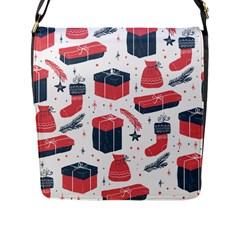 Christmas Gift Sketch Flap Messenger Bag (l)  by patternstudio