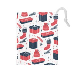 Christmas Gift Sketch Drawstring Pouches (large)  by patternstudio
