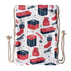 Christmas Gift Sketch Drawstring Bag (large) by patternstudio