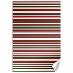 Christmas Stripes Pattern Canvas 12  X 18   by patternstudio