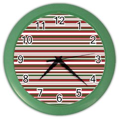 Christmas Stripes Pattern Color Wall Clocks by patternstudio