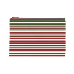 Christmas Stripes Pattern Cosmetic Bag (large)  by patternstudio