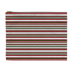 Christmas Stripes Pattern Cosmetic Bag (xl) by patternstudio