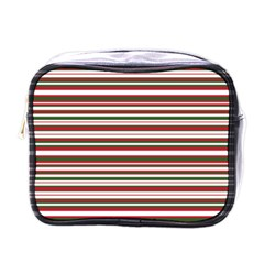 Christmas Stripes Pattern Mini Toiletries Bags by patternstudio