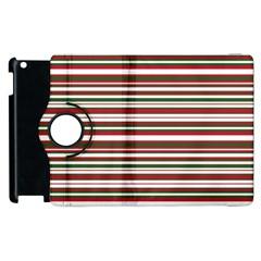 Christmas Stripes Pattern Apple Ipad 2 Flip 360 Case by patternstudio