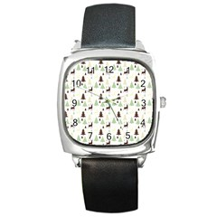 Reindeer Tree Forest Square Metal Watch by patternstudio