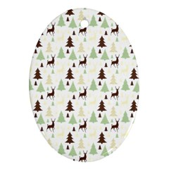 Reindeer Tree Forest Oval Ornament (two Sides) by patternstudio
