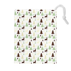 Reindeer Tree Forest Drawstring Pouches (extra Large) by patternstudio