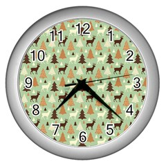 Reindeer Tree Forest Art Wall Clocks (silver)  by patternstudio