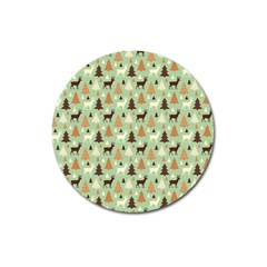 Reindeer Tree Forest Art Magnet 3  (round) by patternstudio