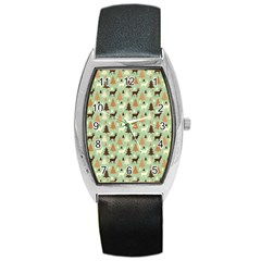 Reindeer Tree Forest Art Barrel Style Metal Watch by patternstudio