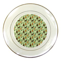 Reindeer Tree Forest Art Porcelain Plates by patternstudio
