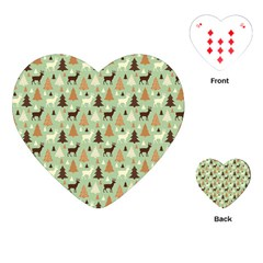 Reindeer Tree Forest Art Playing Cards (heart)  by patternstudio