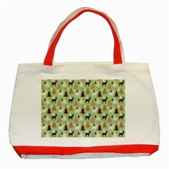 Reindeer Tree Forest Art Classic Tote Bag (red) by patternstudio