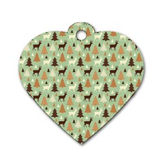 Reindeer Tree Forest Art Dog Tag Heart (two Sides) by patternstudio