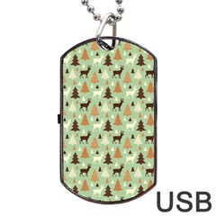 Reindeer Tree Forest Art Dog Tag Usb Flash (two Sides) by patternstudio