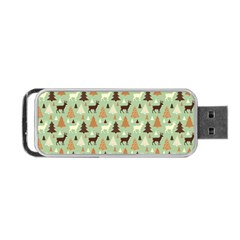Reindeer Tree Forest Art Portable Usb Flash (one Side) by patternstudio